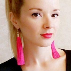 Hot Pink Long Tassel Earrings